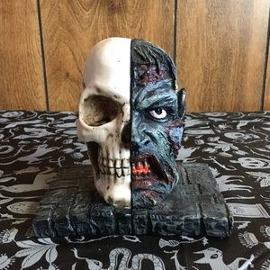 Skull and Zombie bookends